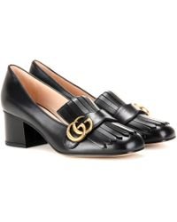 Gucci Marmont Leather Loafer Pumps - Black