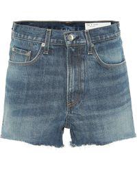 Rag & Bone High-Rise Jeansshorts - Blau