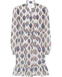 Chloé Printed Habutai-silk Tie-neck Minidress - White