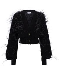 The Attico Feather-trimmed Wool Cardigan - Black