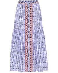 Temperley London Poet Printed High-rise Cotton Skirt - Blue