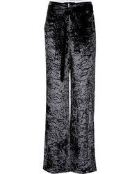 Proenza Schouler Crushed Velvet Wide-leg Trousers - Black