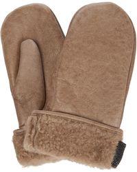 Brunello Cucinelli Handschuhe aus Leder mit Shearling - Natur
