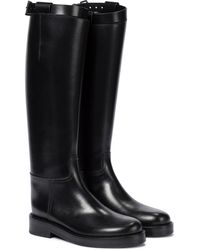 Ann Demeulemeester Leather Riding Boots - Black
