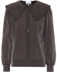 Ganni Striped Seersucker Blouse - Black