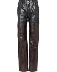 Peter Do High-rise Straight Leather Trousers - Black