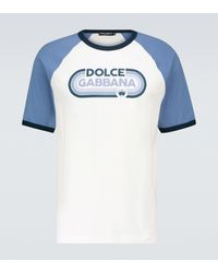 Dolce & Gabbana Camiseta de algodón con logo - Azul