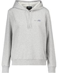 A.P.C. Logo Stretch-cotton Hoodie - Grey