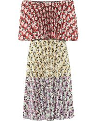 Valentino Floral Pleated Jersey Dress - Multicolour
