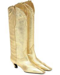 Khaite Dallas Leather Western Boots - Metallic