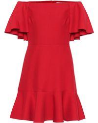 Valentino – Robe à encolure bardot en laine et soie - Rouge