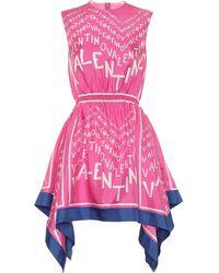 Valentino Exklusiv bei Mytheresa – Minikleid aus Seiden-Twill - Pink