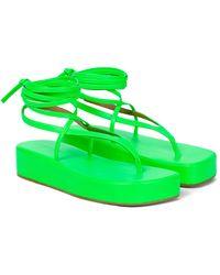 AMINA MUADDI Sandalias Jamie de piel con plataforma - Verde