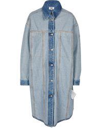 MM6 by Maison Martin Margiela Cotton Denim Midi Shirt Dress - Blue