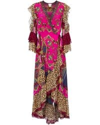 Camilla Embellished Printed Silk Maxi Dress - Pink