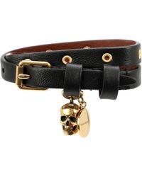 Alexander McQueen Embellished Leather Bracelet - Black