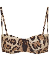 Dolce & Gabbana Top de bikini con print de leopardo - Neutro