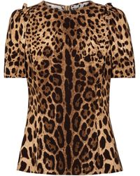 Dolce & Gabbana Leopard-print Stretch-cady Top - Brown