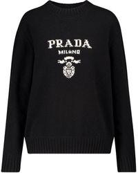 Prada Pull en laine et cachemire à logo - Noir