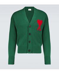 AMI Cardigan Ami de Coeur in cotone e lana - Verde