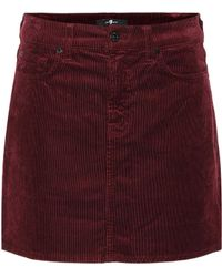 7 For All Mankind Corduroy Miniskirt - Red