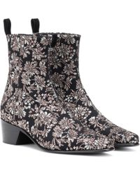 Pierre Hardy Reno Floral Brocade Ankle Boots - Black