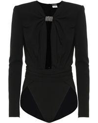 Saint Laurent Crystal-embellished Crêpe Bodysuit - Black