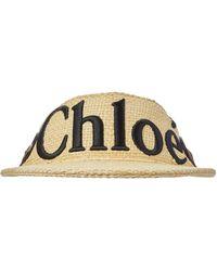 Chloé Visiera Woody in rafia con logo - Neutro