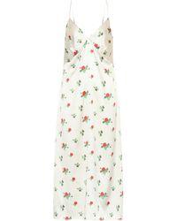 BERNADETTE June Floral Silk-satin Slip Dress - White