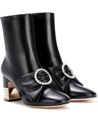 Gucci - Embellished Leather Ankle Boots - Lyst