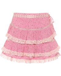 LoveShackFancy Exklusiv bei Mytheresa – Minirock Bara aus Baumwolle - Pink