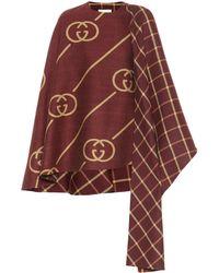 Gucci Womens Brown Gg Motif Asymmetric Wool Cape