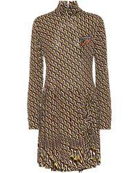 Prada Roll-neck Geometric-print Mini Dress - Green