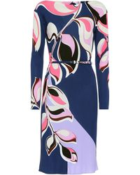 Emilio Pucci Heliconia Print Belted Dress - Blue