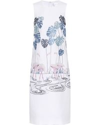 Victoria, Victoria Beckham Besticktes Etuikleid aus Crêpe - Weiß