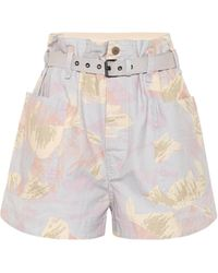 Étoile Isabel Marant Rike High-rise Cotton And Linen Shorts - Multicolour