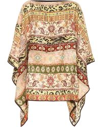 Etro Printed Silk-blend Poncho - Natural
