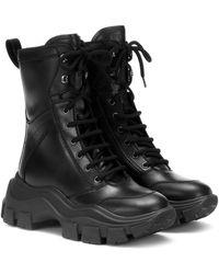 Prada Ankle Boots Block aus Leder - Schwarz
