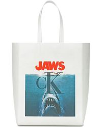 CALVIN KLEIN 205W39NYC Jaws Leather Tote - White
