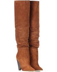 Saint Laurent Niki 105 Suede Boots - Brown