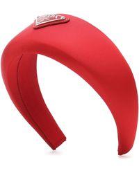 Prada Verzierter Haarreif aus Satin - Rot