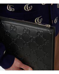 Gucci Pochette Ouverture en cuir GG - Noir