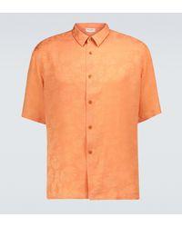 Saint Laurent Kurzarmhemd aus Crêpe de Chine - Orange