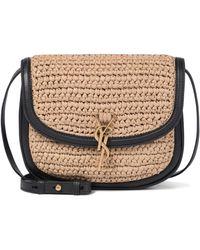 Saint Laurent Kaia Medium Raffia And Leather Shoulder Bag - Natural
