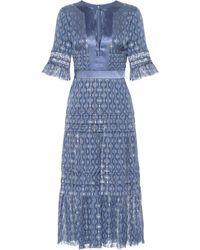 Temperley London Abito Suki in seta con lamé - Blu