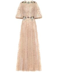 Costarellos Embellished Tulle Gown - Natural
