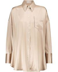 Brunello Cucinelli Camisa de satén de seda elástica - Neutro