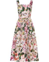 Dolce & Gabbana Midikleid aus Baumwolle - Mehrfarbig