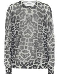 Dries Van Noten Leopard Cotton-blend Sweater - Gray