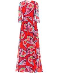 Delpozo - Printed Silk Maxi Dress - Lyst